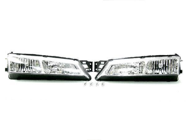 送料無料 日産 シルビア S14 CS14 後期用 インナークロームメッキクリスタルフロントヘッドライト 左右セット ヘッドランプ 96y-98y ライト