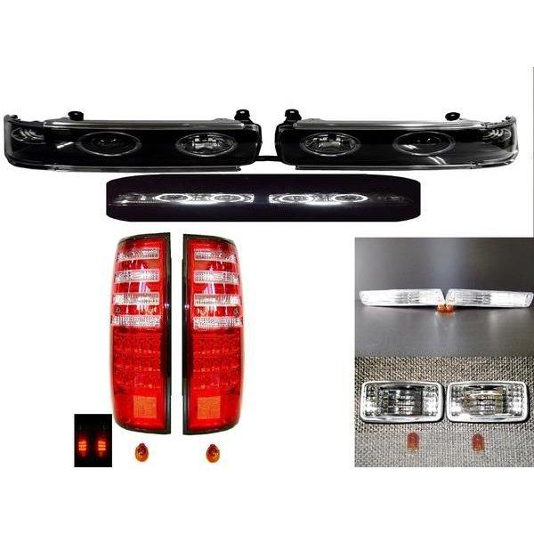 送料無料 トヨタ ランクル 80 イカリング プロジェクター LED ヘッドライト テールランプ サイドマーカー フロントウィンカー 左右 黒 ライト