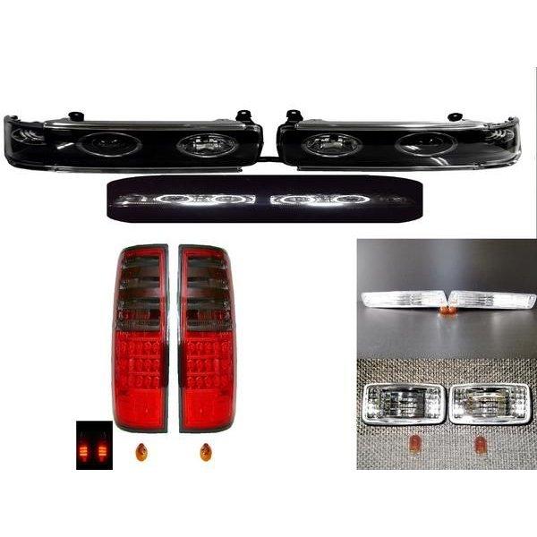 送料無料 ランクル 80 LED イカリング プロジェクター 6連LED ヘッド ライトスモーク テール ライト ウィンカー マーカー SET B