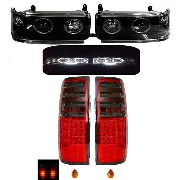 送料無料 ランクル 80 LED イカリング プロジェクター スモーク コンビテール & プロジェクター ヘッド ライト SET