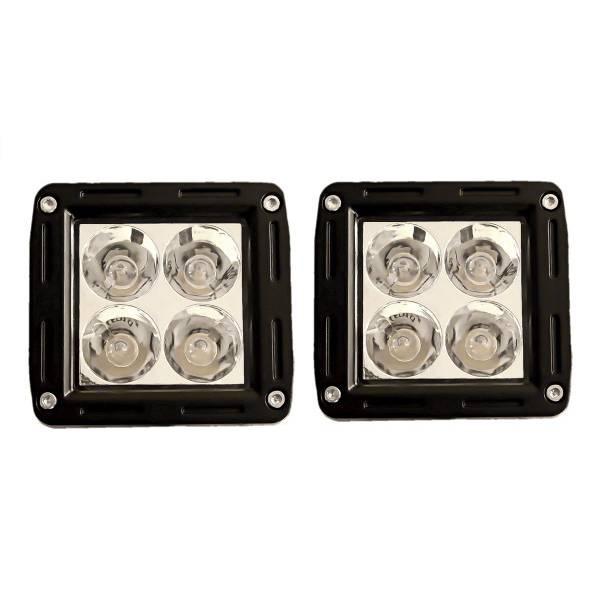 送料無料 LED ワーク ライト フォグ ランプ 角型 広角 12W スイッチ&配線付