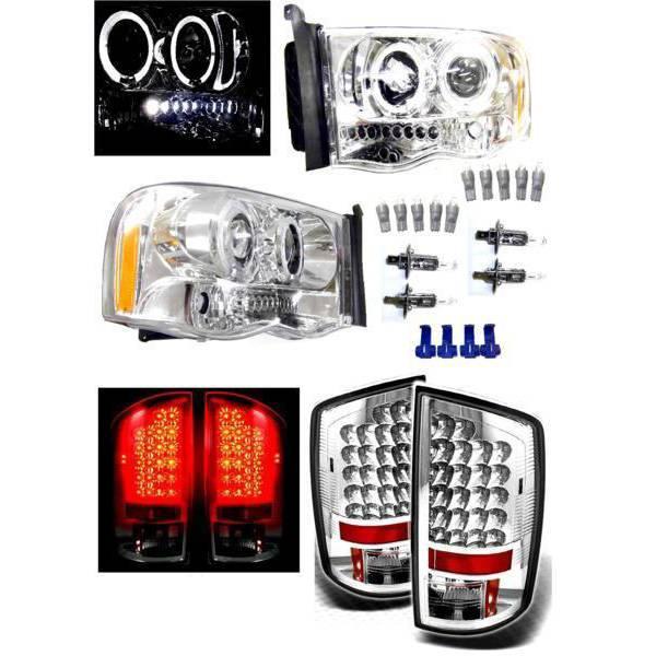 送料無料 特注日本光軸 ダッジ ラム P/U 02y- メッキ LED イカリング プロジェクター ヘッドライト &クリスタル テールランプ 左右 ライト