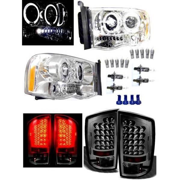送料無料 特注日本光軸 ダッジ ラム P/U 02y- メッキ LED イカリング プロジェクター ヘッドライト & リア スモーク テールランプ 左右 SET