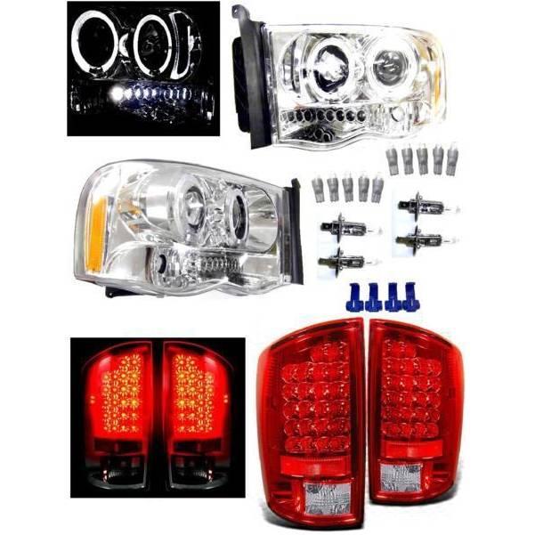送込 特注日本光軸 ダッジ ラム P/U 02y- メッキ LED イカリング ヘッドライト & リアレッドクローム テールランプ 左右 SET ランプ ライト