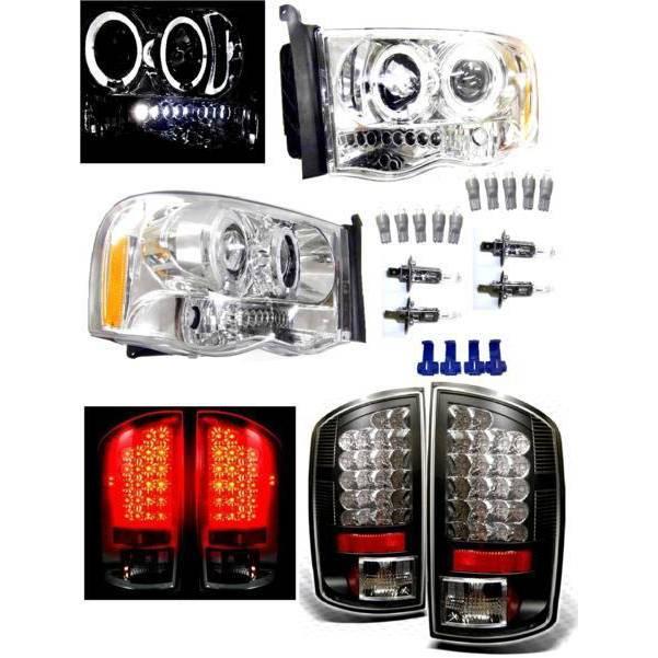 送料無料 特注日本光軸 ダッジ ラム P/U 02y- LED イカリング プロジェクター ヘッドライト & LED テールランプ ブラック 左右 テール ライト