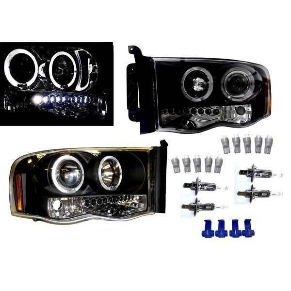 送料無料 ダッジ ラム ピックアップ 02-05y 日本光軸仕様 インナーブラック LED プロジェクター ヘッドライト 左右SET アンバーリフレクター