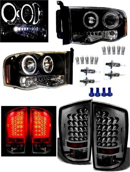 送料無料 特注日本光軸 ダッジ ラム 02y- インナー ブラック LED イカリング プロジェクター ヘッドライト & リア スモーク テールランプ