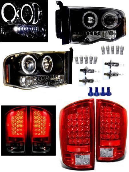 送料無料 特注日本光軸 ダッジ ラム 02y- インナー ブラック LED イカリング プロジェクター ヘッドライト & テールランプ 左右SET ライト