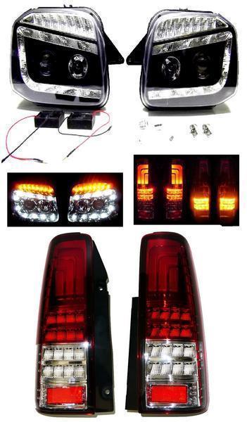 送料無料 スズキ ジムニー JB23W LED ヘッドライト & ファイバー LED 流れるウィンカー テールランプ 左右セット テール ライト ヘッドランプ