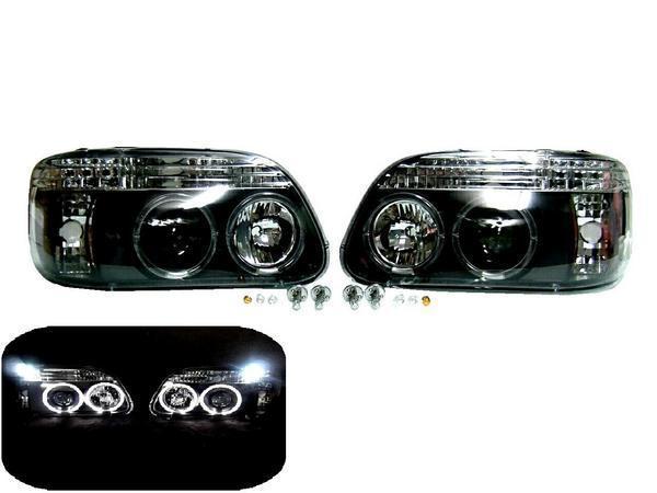 送料込み エクスプローラー 95y-01y ヘッドライト LED プロジェクター イカリング ブラックインナー 黒 左右セット セット