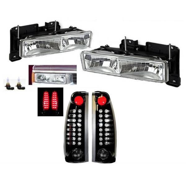 送料無料 GMC ユーコン サバーバン ヘッドライト&黒テールランプSET