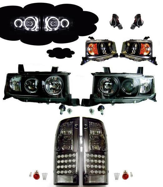 送料無料 トヨタ bB オープンデッキ NCP34 フロント CCFLヘッドライト インナーブラック & リア LEDスモークテール SET ライト ランプ