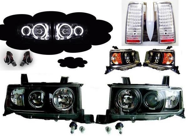 送料無料 bB CCFLイカリング プロジェクター ヘッドライト アンバー 黒 & LED テール ランプ SET