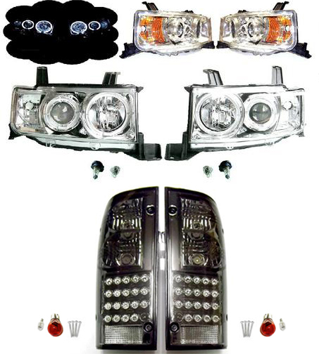 送料無料 トヨタ bB オープンデッキ NCP34 フロント LEDヘッドライト アンバーリフレクター & リア LEDスモークテール SET