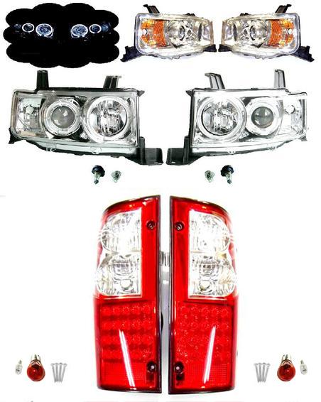 送料無料 bB オープンデッキ NCP34 LED イカリング プロジェクター ヘッドライト & LED テール SET