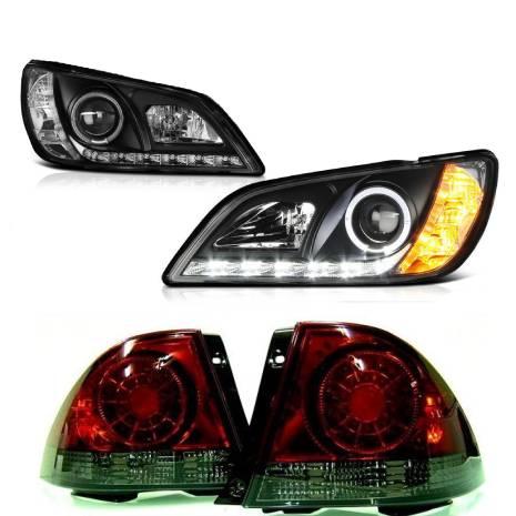 送料無料 トヨタ アルテッツァ 10系 LEDイカリングプロジェクターヘッドライト 黒 & LEDスモークコンビテールランプ 左右 IS300 日本光軸