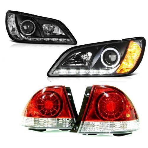 送料無料 トヨタ アルテッツァ 10系 LEDイカリングプロジェクターヘッドライト 黒 & LEDクリアコンビテールランプ 左右 IS300 日本光軸