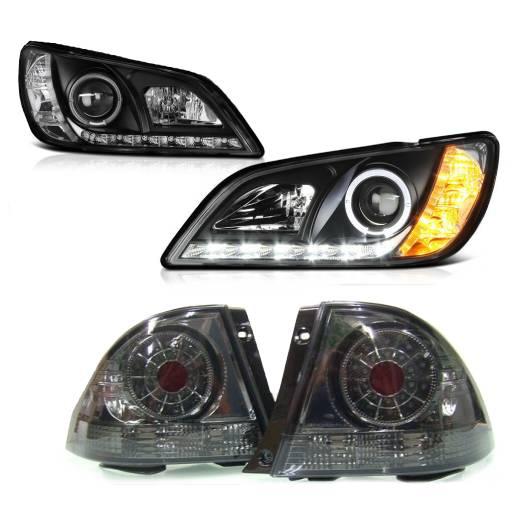 送料無料 トヨタ アルテッツァ 10系 LEDイカリングプロジェクターヘッドライト 黒 & LEDレッドスモークテールランプ 左右 IS300 日本光軸