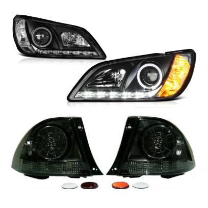 送料無料 トヨタ アルテッツァ 10系 LEDイカリングプロジェクターヘッドライト 黒 & LEDフルスモークテールランプ 左右 IS300 日本光軸
