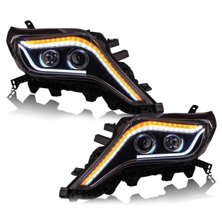 送料無料 トヨタ ランドクルーザー プラド 150 151 中期 流れる ウィンカー LED フロント ヘッドライト ランクル ライト TRJ150W TRJ150W GRJ151W ヘッドランプ ブラック 黒 シーケンシャル
