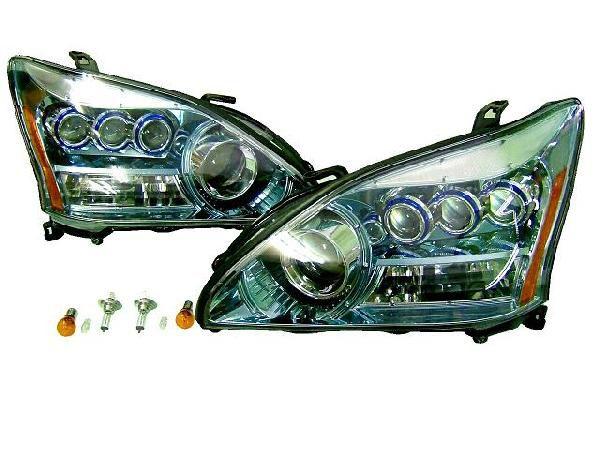 送料無料 トヨタ ハリアー 30 31 35 36 38系 3連プロジェクター ヘッドライト アクアクローム ACU30W ACU35W GSU30W GSU31W GSU35W GSU36W