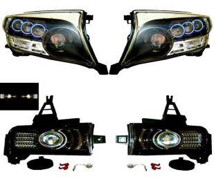 ランクル 200 3連ヘッドランプ&112連LEDフォグランプ 黒 SET