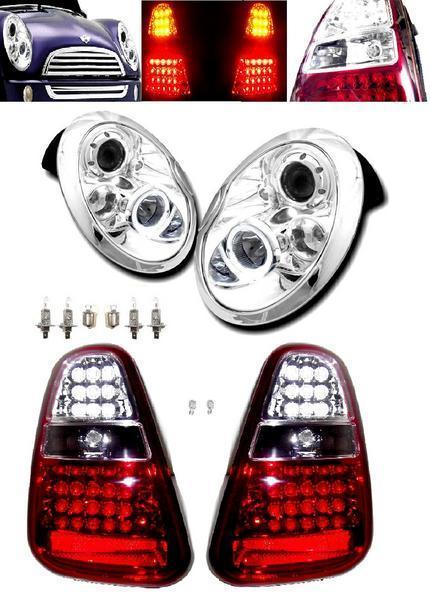 送料無料 BMW ミニ MINI R50 R52 R53 LED プロジェクター イカリング ヘッドライト & LED テールランプ 左右 セット ライト テール クーパー