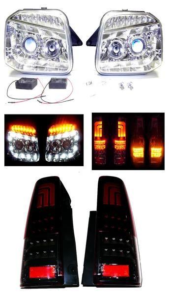 送料無料 ジムニー JB23W LEDヘッドライト&レッドスモークテール SET