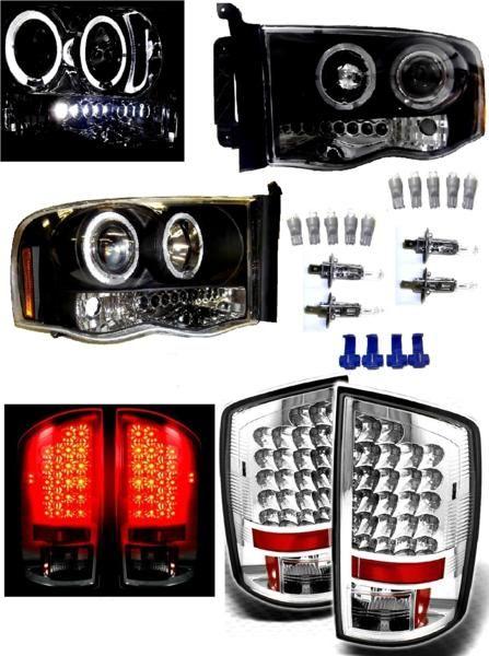 送込 ダッジ ラム 02y- ブラック LED ヘッドライト&テールランプ