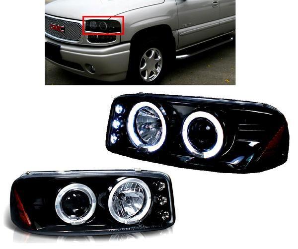送料無料 特注日本光軸 GMC ユーコン デナリ シエラ LED イカリング プロジェクター ヘッドライト ブラック 左右 セット ライト ヘッドランプ