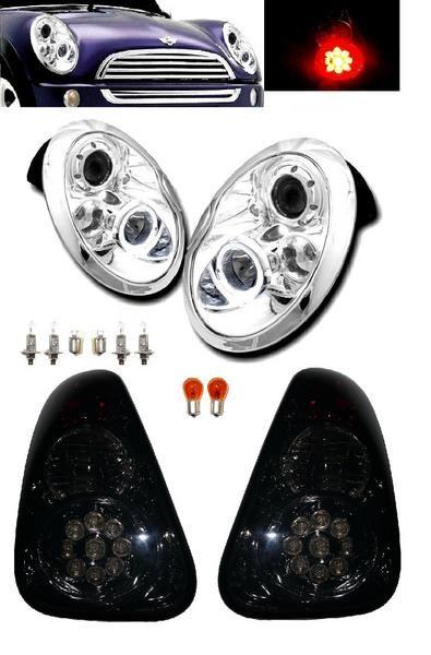送料無料 送料BMW ミニ MINI R50 R52 R53 LED プロジェクター イカリング ヘッドライト & LED テールランプ 左右 セット ライト テール クーパー フロント テール RA16 ヘッドランプ