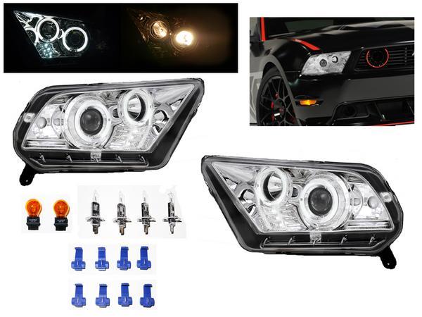 送料込 フォード マスタング 09y- LED イカリング ヘッドライト