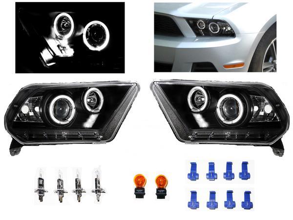 送料無料 フォード マスタング 09y- 黒 LED イカリング ヘッドライト