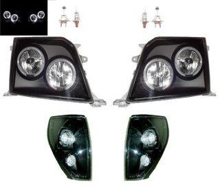 送料無料 プラド 90 95 黒 LEDイカリングヘッドライト&コーナー SET