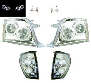 ランクル プラド90 95 LEDイカリングヘッドランプ&コーナーランプSET 爆光NEW LED