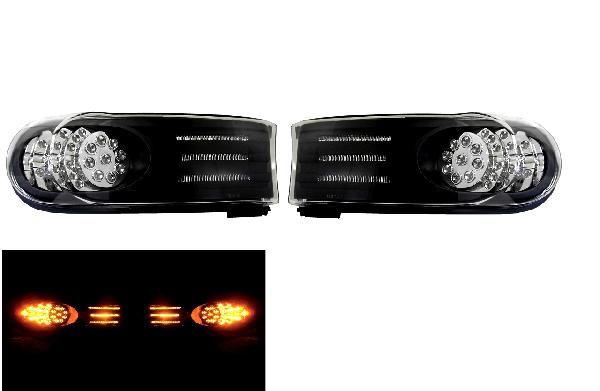 送料無料 トヨタ FJクルーザー 07y- ブラック フロントLEDパークシグナル ライト 左右セット LEDフロントウインカー フロントコーナーランプ