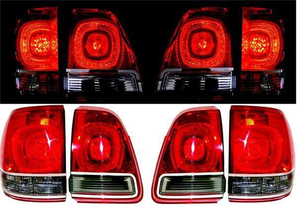 送料無料 トヨタ ランドクルーザー 200 系LOOK リアLEDスモークコンビテールランプ 左右SET 98y-07y UZJ100W HDJ101K ランクル 100 / 101系