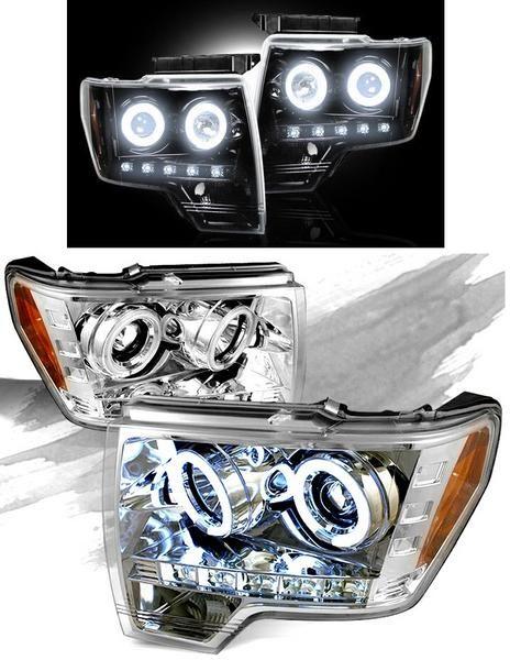 送料無料 Ford F150 F-150 09y-14y LEDイカリング ヘッドライト