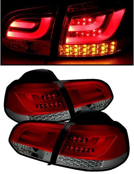 送料込 VW ゴルフ 6 09y-13y リアLEDファイバー赤黒テールランプ