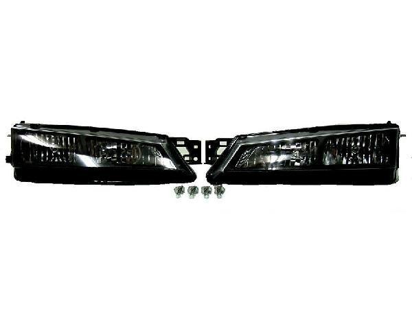 送料無料 日産 シルビア S14 後期用 96y - 98y クリスタル ブラック レンズ フロント ヘッドライト 左右セット ヘッドランプ クリア 黒 SILVIA