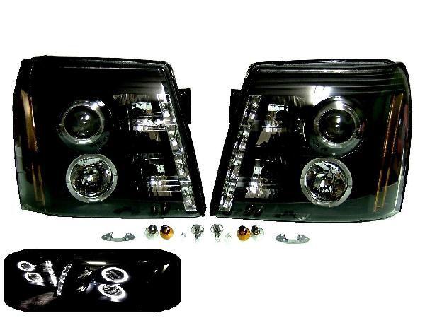 送料無料 キャデラック エスカレード インナーブラック プロジェクター LEDイカリング ヘッドライト 純正HID車用 黒 ヘッドランプ ESV EXT