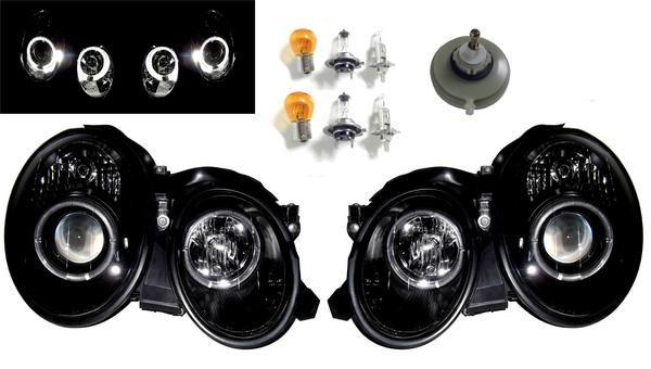送料無料 ベンツ W208用 CLK プロジェクターイカリング ヘッドライト