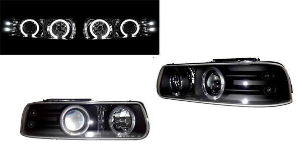 込シボレー シルバラードP/U 99-02 LEDイカリング黒ヘッドライト