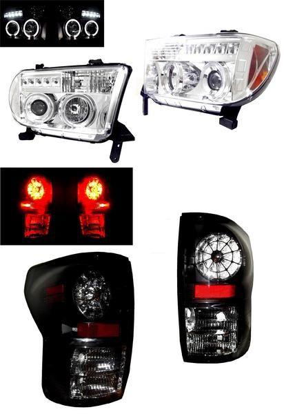 送料無料 トヨタ タンドラ 07-11y イカリングヘッドライト&LEDテール