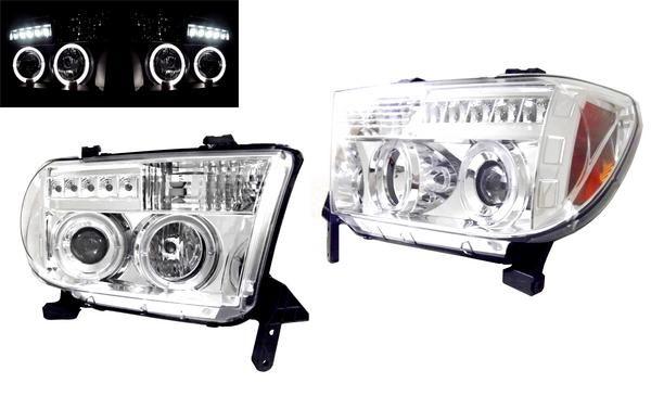 送料無料 トヨタ セコイア 08y- メッキ LED イカリング ヘッドライト
