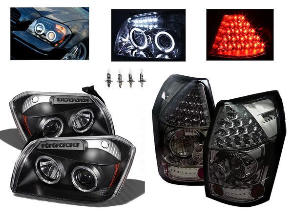 送料無料 送料込ダッジ マグナム インナーブラック LEDイカリングプロジェクターヘッドライト & LEDテールランプ スモークレンズ 左右 ヘッドランプ