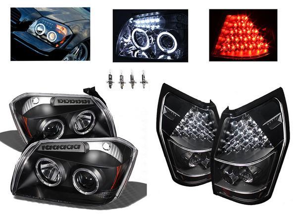 送料無料 ダッジ マグナム インナーブラック LEDイカリングプロジェクターフロントヘッドライト & LEDテールランプ 左右SET ヘッドライト