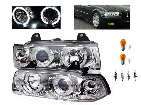 送料無料 BMW 3シリーズ E36 セダン 4ドア クロームメッキ LED イカリング プロジェクター フロント ヘッドライト 左右セット ヘッドランプ