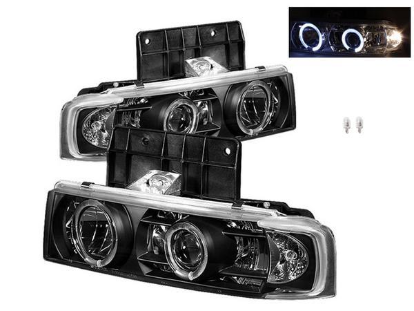 送料無料 シボレー アストロ インナーブラックLEDプロジェクターイカリング フロントヘッドライト 新品左右セット 黒 ヘッドランプ ライト