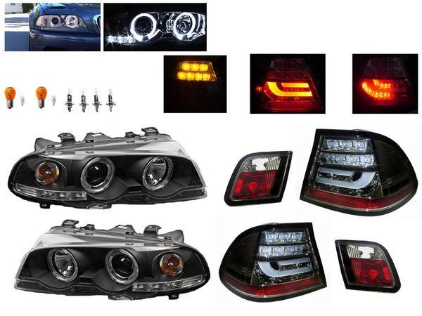 送料無料 ヘッドライト & テールランプ BMW E46 クーペ 前中期 LED イカリング